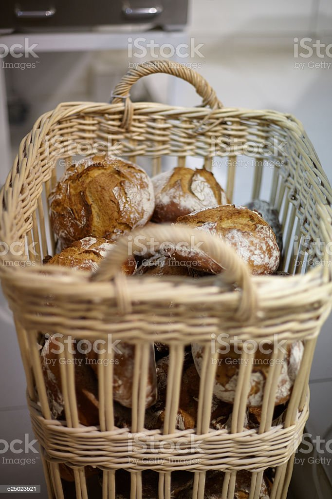 close up of breads on basket stock photo