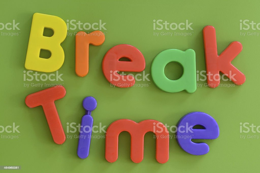 Close up of Break Time words in colorful plastic letters stock photo