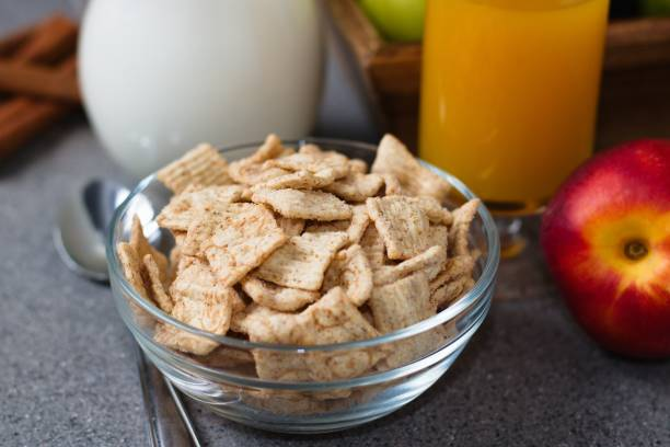 Close up of breakfast cereals stock photo