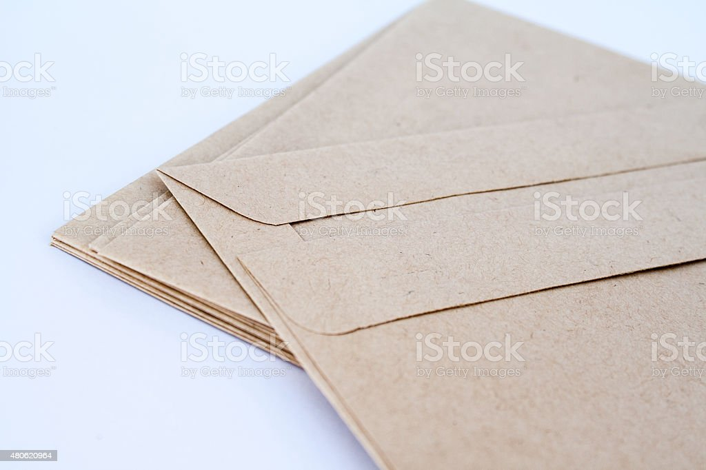Close up of brown envelopes stock photo