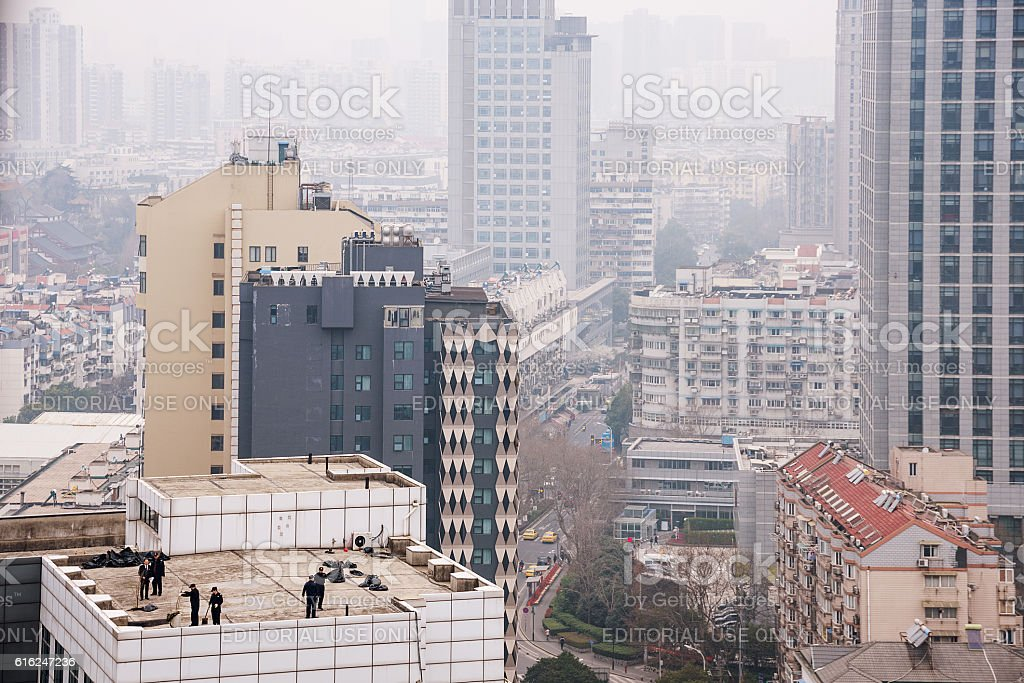 close up of buildings in smog stock photo