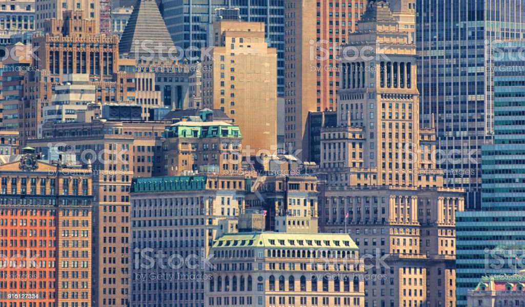 Close up of buildings in Wall Street stock photo