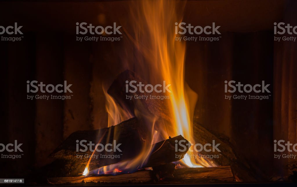 close up of burning fireplace at home – zdjęcie