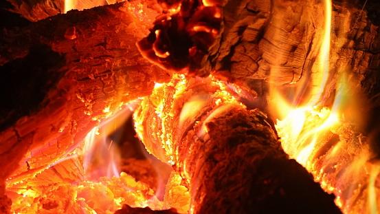 Close up fireplace. of burning firewood