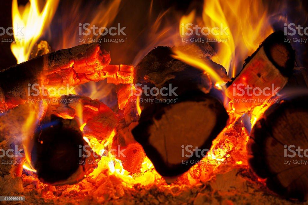Close Up of Burning Logs stock photo