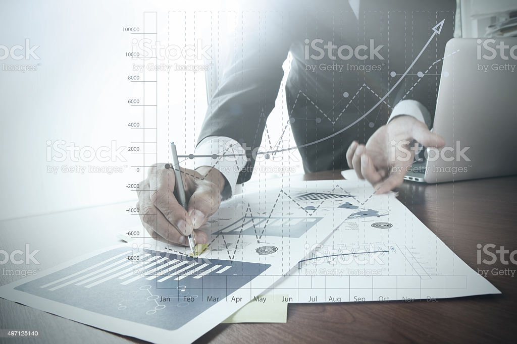 close up of business man hand working stock photo
