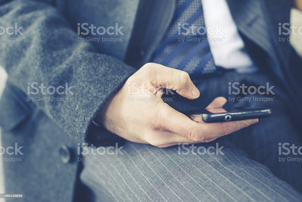 close up of businessman hand typing royalty-free stock photo