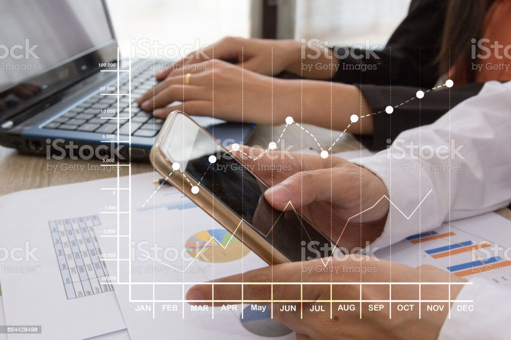 Close up of businessman hand working on smart phone stock photo