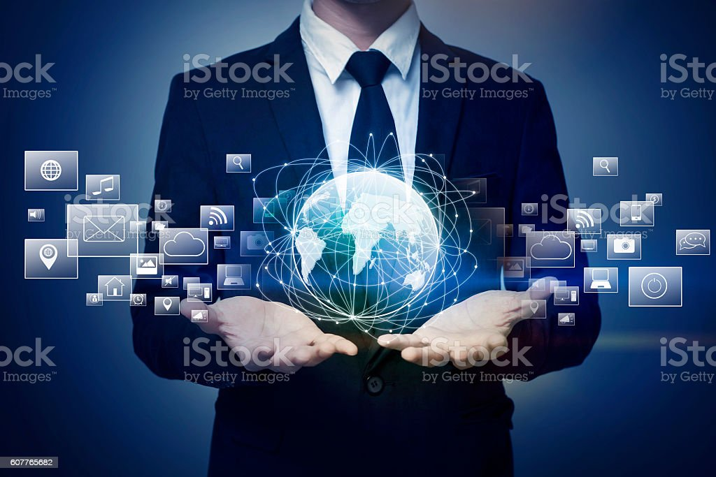 Close up of businessman holding global connection stock photo