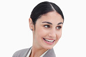 istock Close up of businesswoman turning her head 824864608