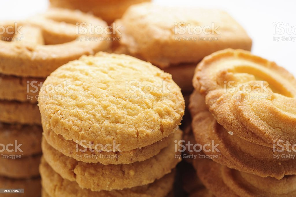 close up of butter cookies stock photo