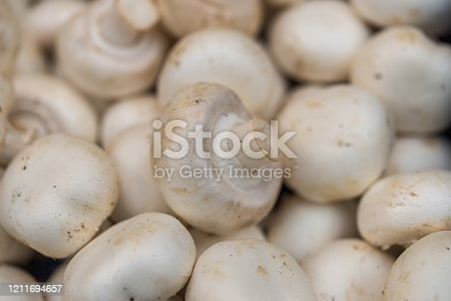 Close up of button champignon mushrooms at the farmers market stall