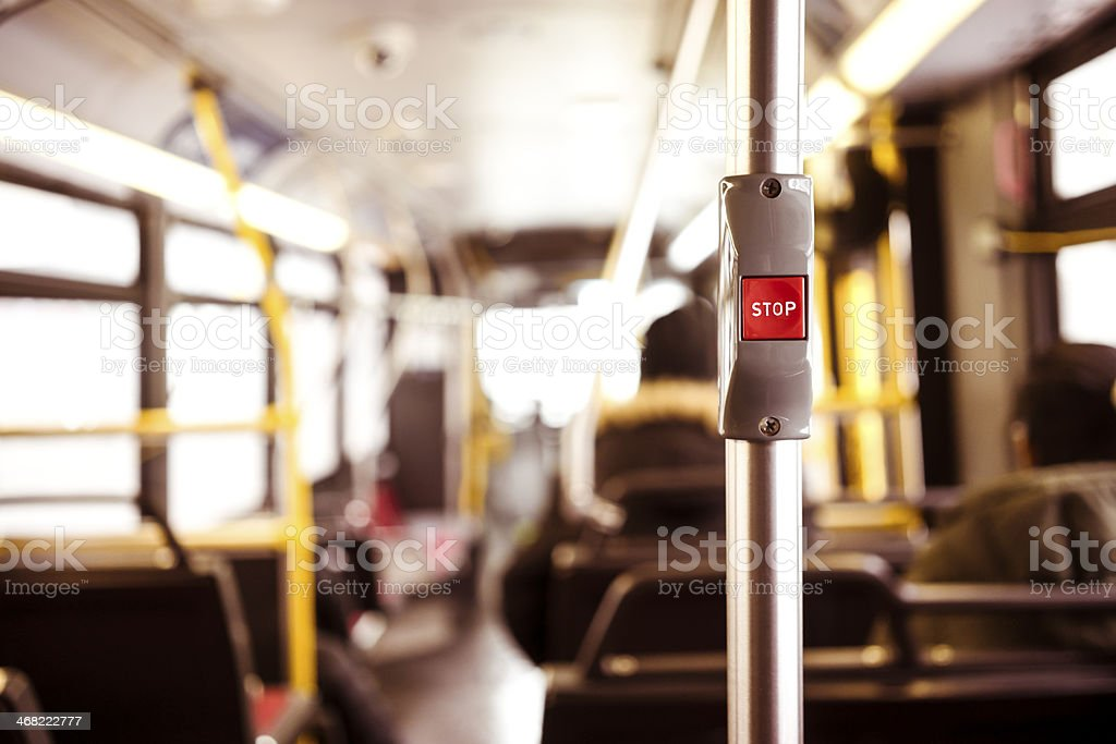 Close up of button to stop the bus stock photo