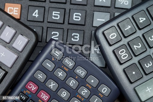 istock Close up of calculator keypads bunched together 837860268