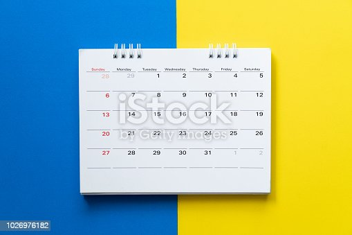 istock close up of calendar on the colorful table, planning for business meeting or travel planning concept 1026976182