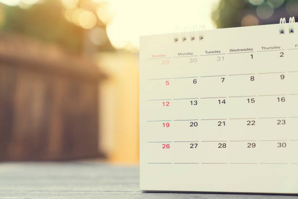 close up of calendar on the table for planner,business,organization,management schedule, calender concept. - holiday calendars stock pictures, royalty-free photos & images