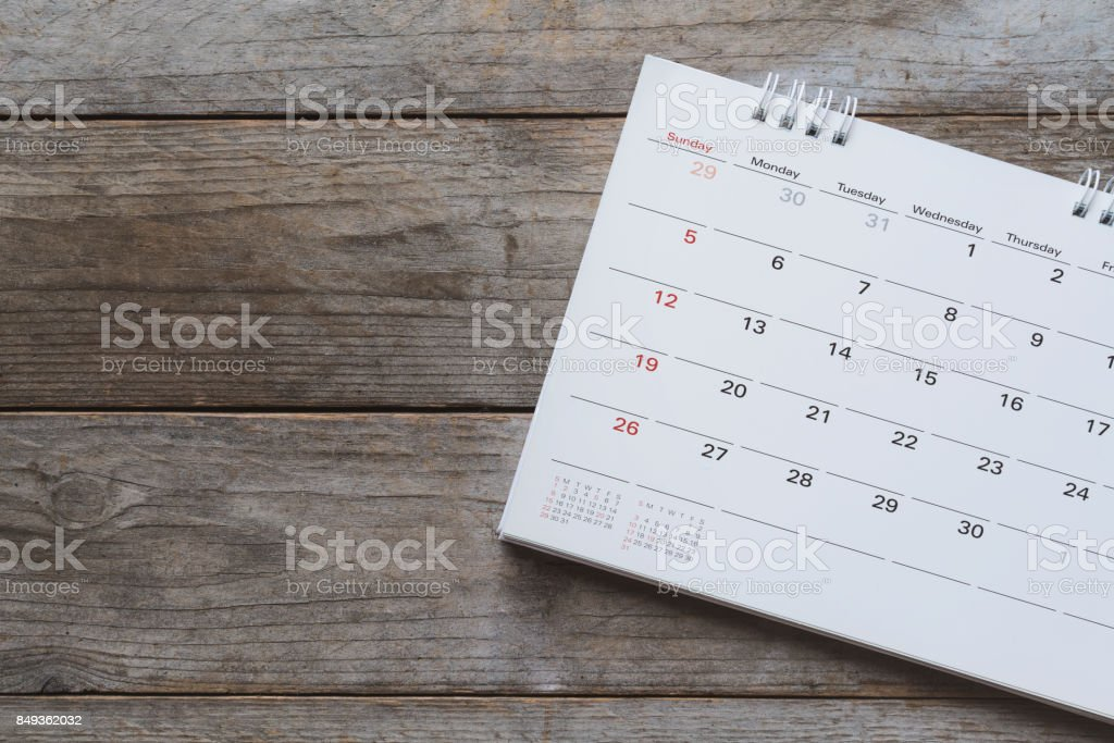 close up of calendar on the table stock photo