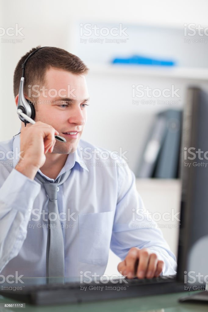 Close up of call center agent speaking with costumer stock photo
