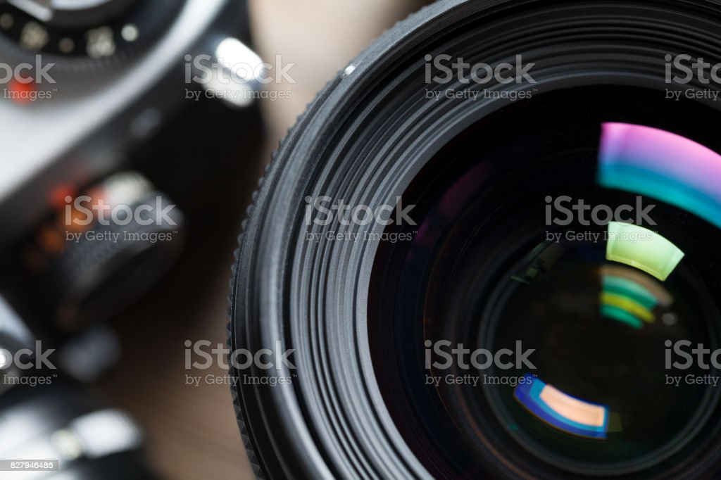 Close up of Camera lens stock photo
