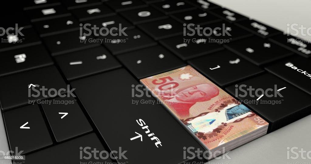 캐나다 50 달러 버튼 닫습니다 royalty-free 스톡 사진