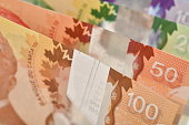 istock Close up of Canadian banknotes (CAD) background 846636558