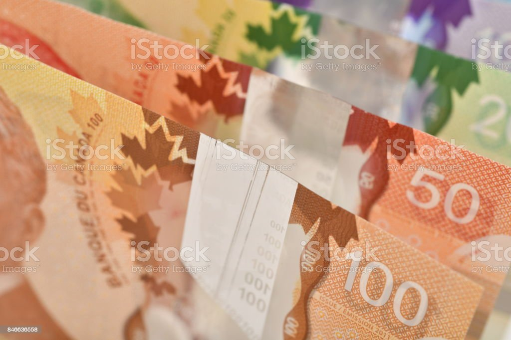 Close up of Canadian banknotes (CAD) background - foto stock