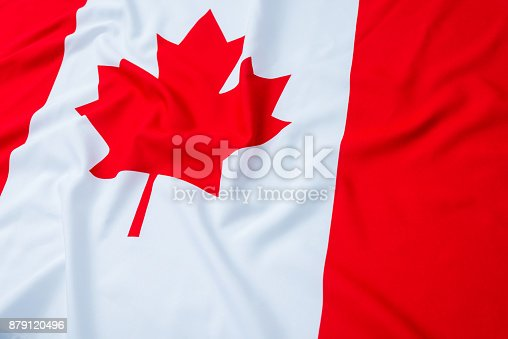 istock Close up of Canadian flag 879120496