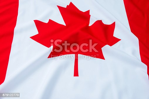 istock Close up of Canadian flag 879122770