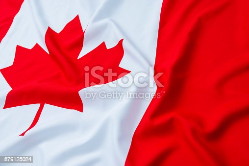 istock Close up of Canadian flag 879125024