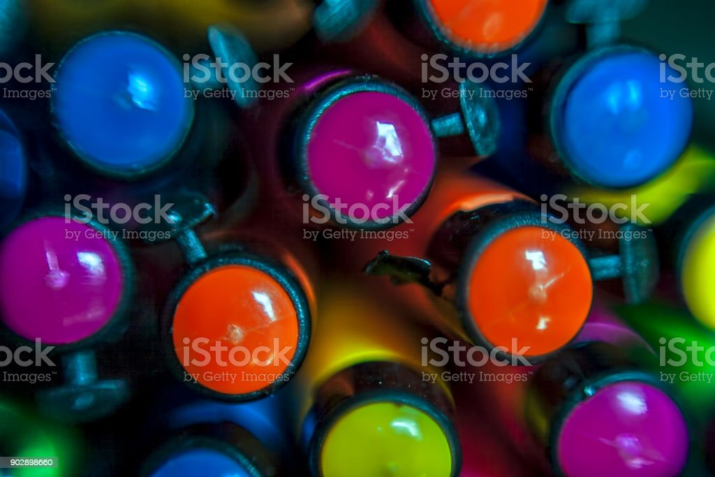 Close up of cap of the ball pens. stock photo