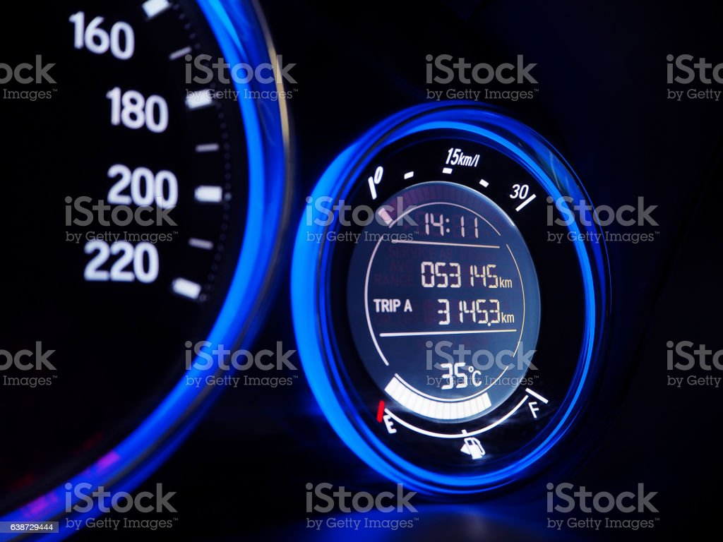 Close up of Car Display instrument panel stock photo