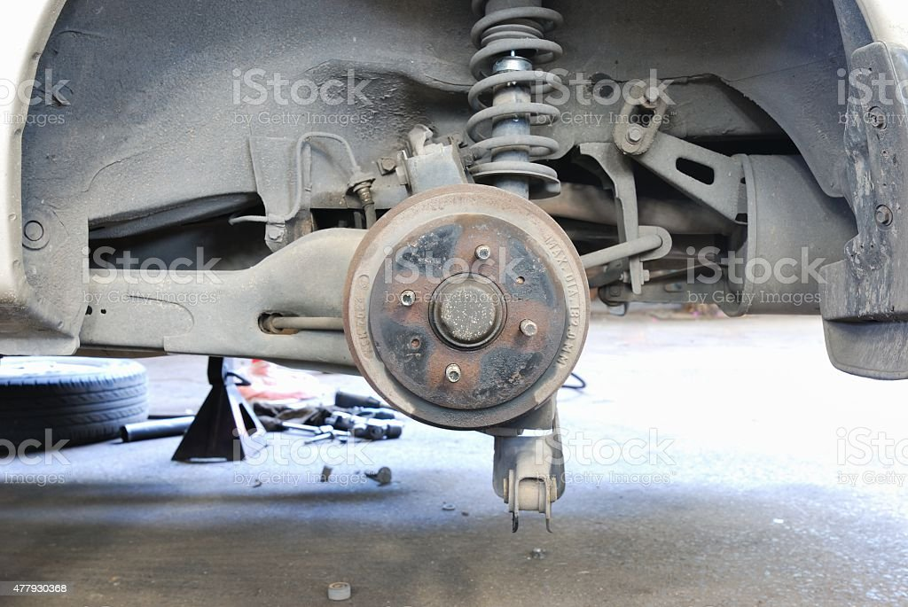 Close up of car drum brake stock photo