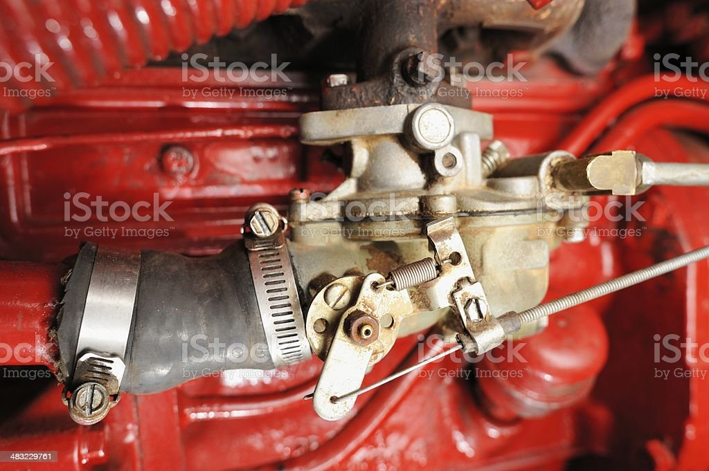 Close up of carburetor on old tractor royalty-free stock photo
