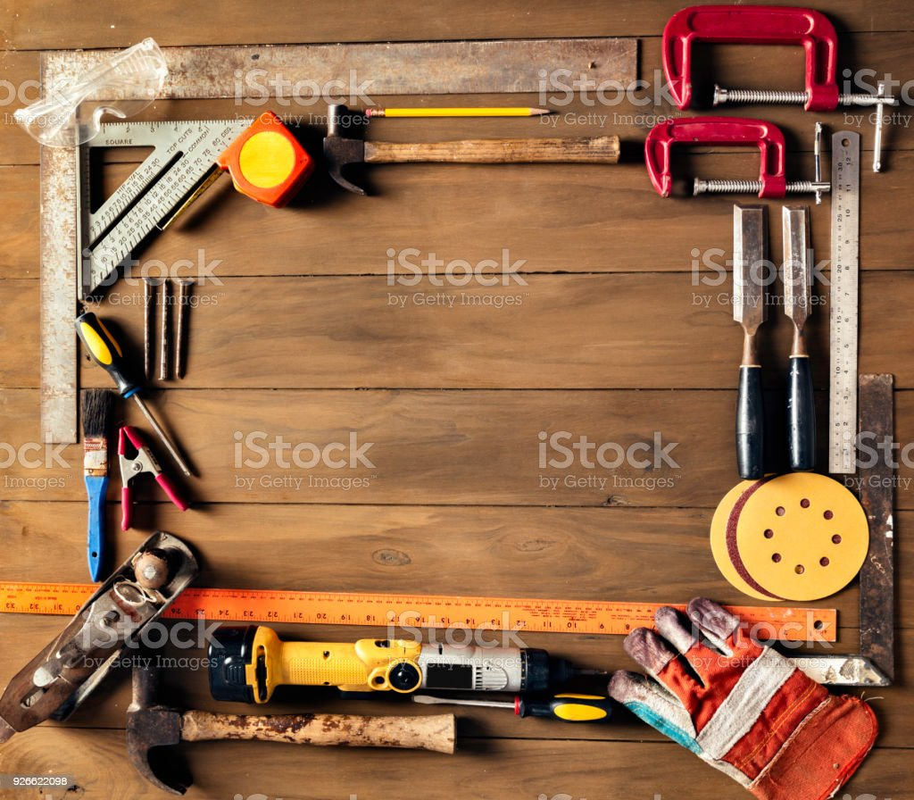 Close Up Of Carpentry Tools Making A Frame With Copy Space Stock ...