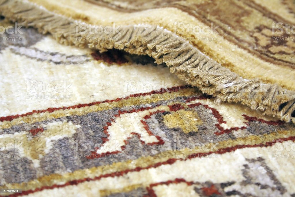 Close up of carpet detail and fringe stock photo