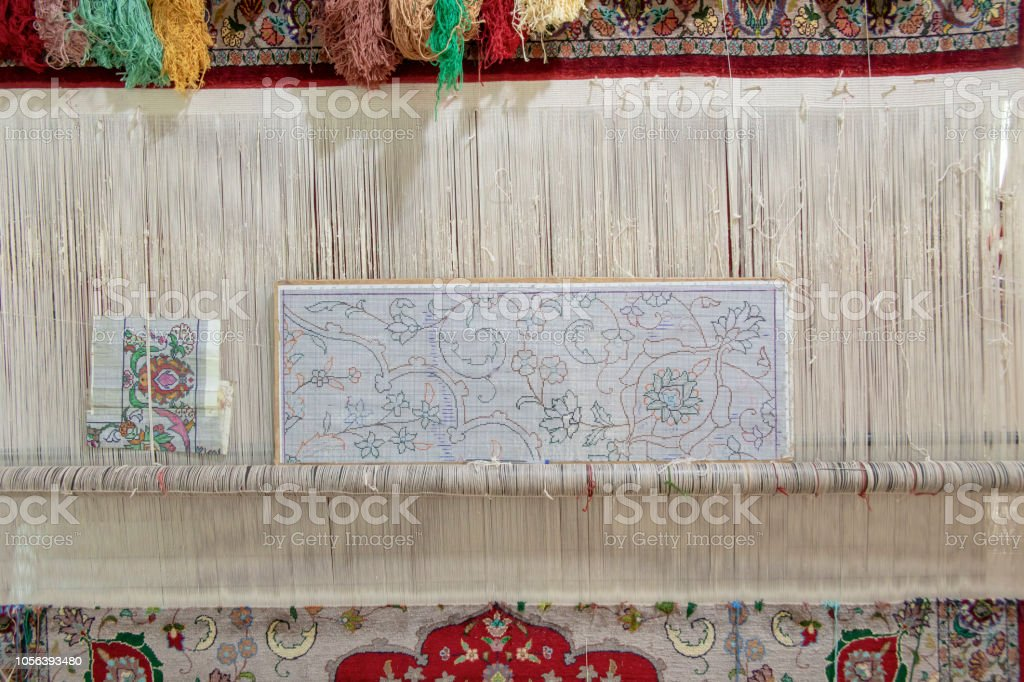 Close up of carpet loom stock photo
