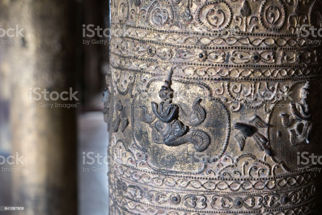 Close Up of Carved Figure on Golden Column, Shwenandaw Monastery, Mandalay, Myanmar (Burma) stock photo