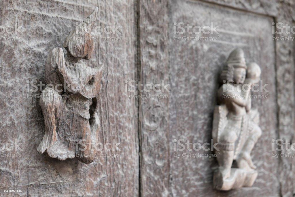 Close Up of Carved Figures on Exterior Wall, Shwenandaw Monastery, Mandalay, Myanmar (Burma) stock photo