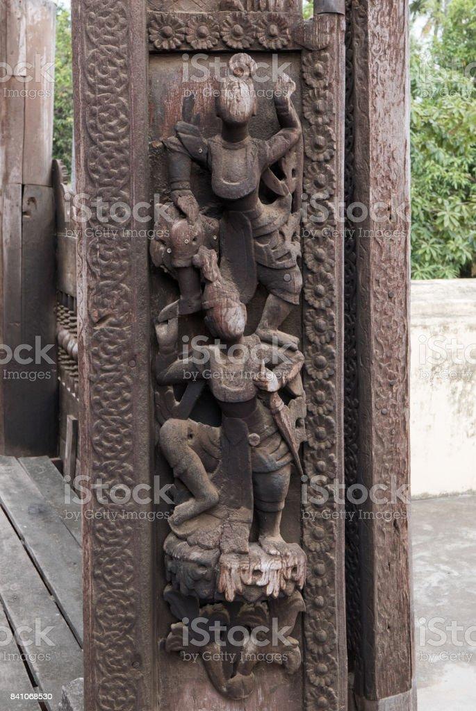 Close Up of Carved Figures, Shwe In Bin Kyaung Monastery, Mandalay, Myanmar (Burma) stock photo
