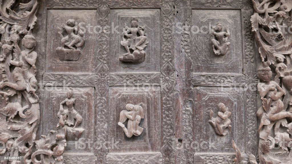 Close Up of Carvings on Exterior Wall, Shwenandaw Monastery, Mandalay, Myanmar (Burma) stock photo