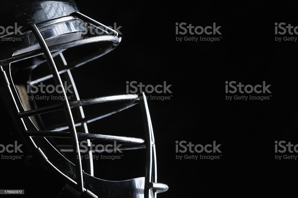 Close up of catchers mask stock photo