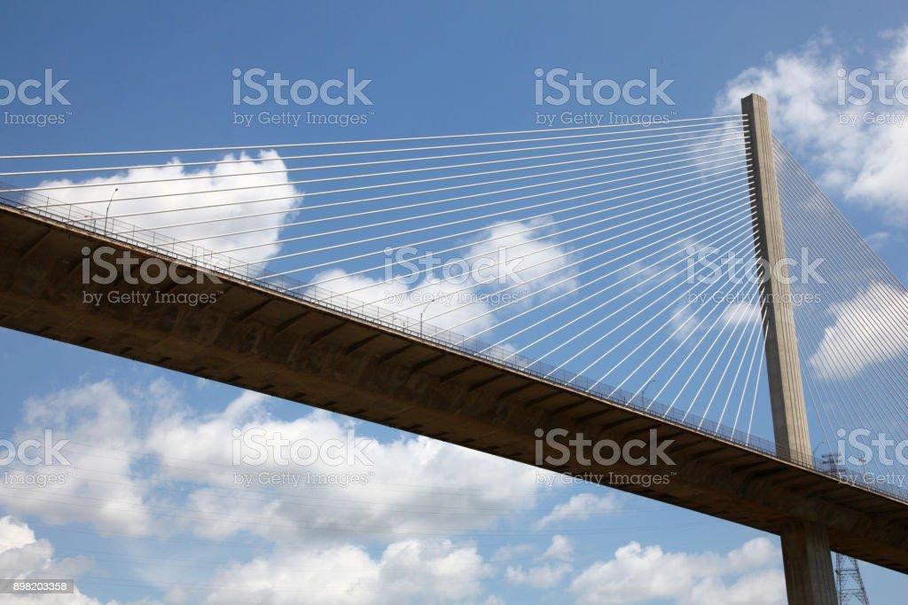 Close up of Centennial Bridge (or Puente Centenario) over the canal, Panama, Central America. stock photo
