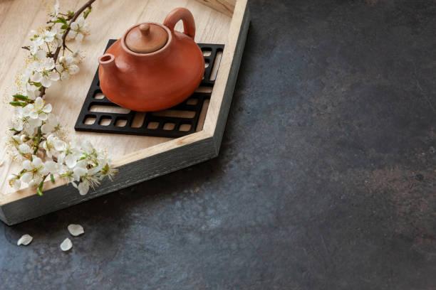 Feche acima do potenciômetro de chá asiático cerâmico com o chá verde de Japão com as filiais de florescência da cereja na tabela cinzenta - foto de acervo