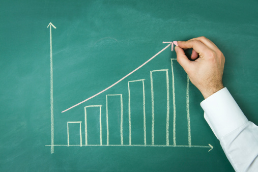 831745600 istock photo Close up of Chalkboard with Finance Business Graph 159757472