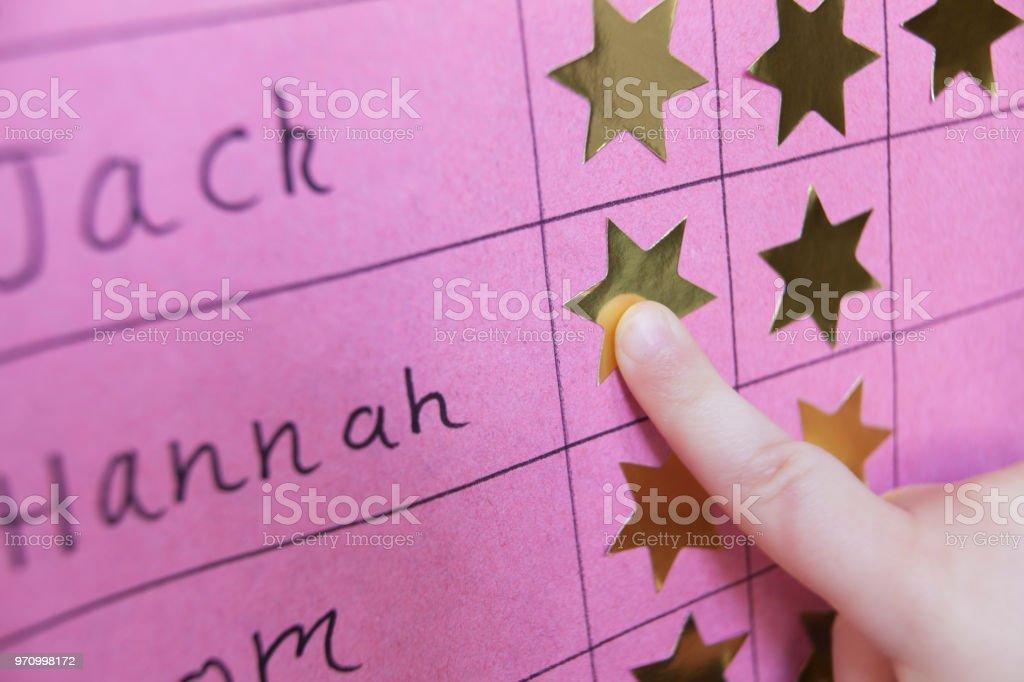 Nahaufnahme eines Kindes mit Prämienverzeichnis – Foto