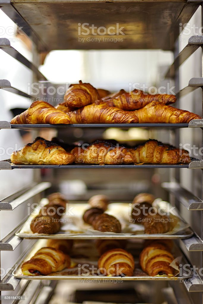 Close up of chocolate croissants on bakery stock photo