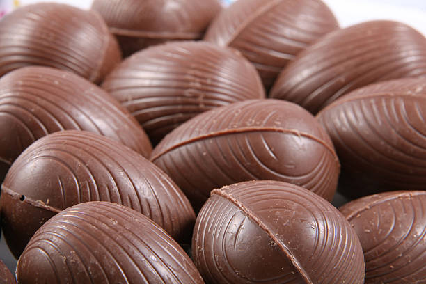 Close up of chocolate easter eggs. – Foto