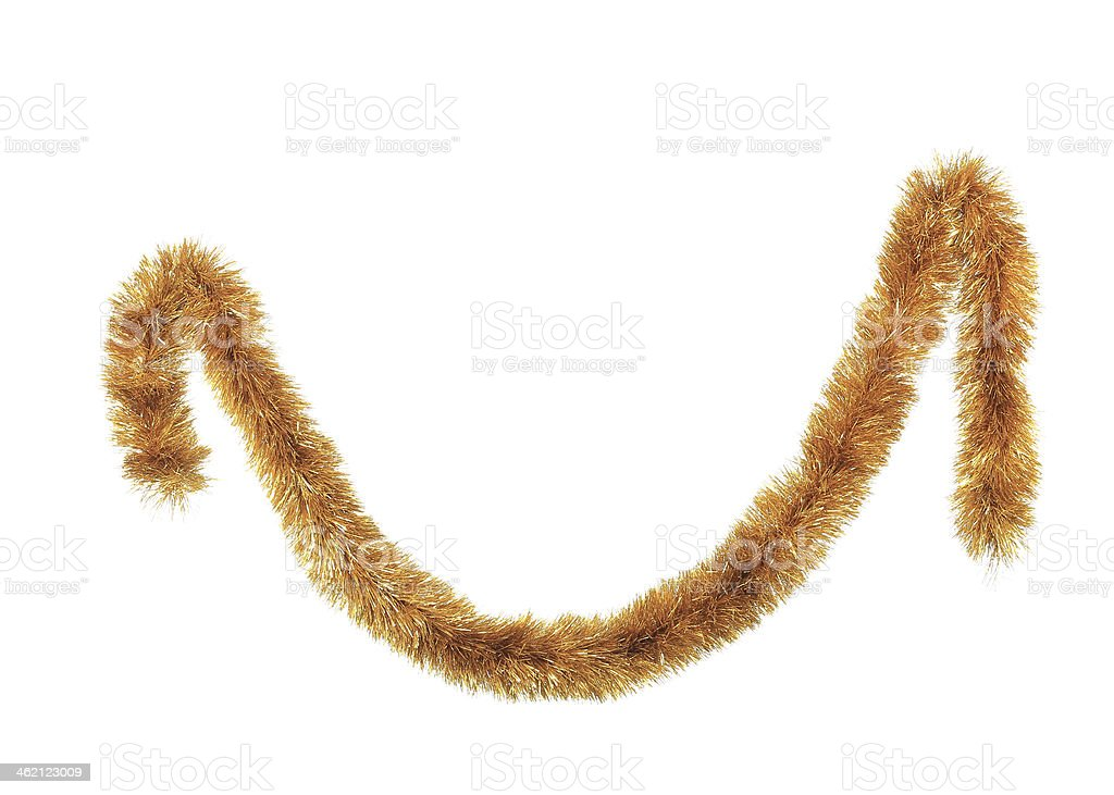 Close up of christmas golden tinsel. stock photo