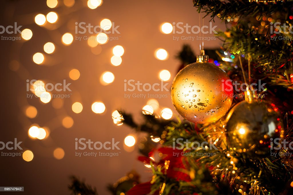 close up of christmas tree ornament ball decoration stock photo