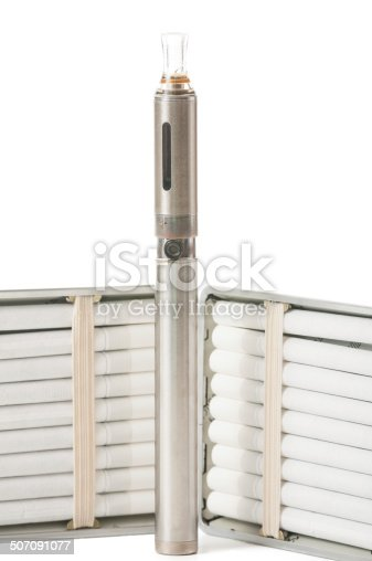 177005367 istock photo Close up of cigarettes and electronic cigarette 507091077